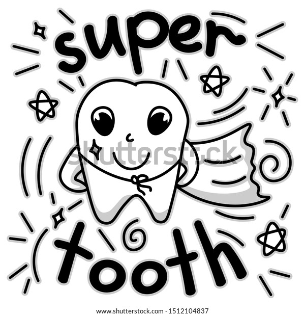 Cute Doodle Happy Tooth Cartoon Drawing Stock Vector Royalty Free 1512104837