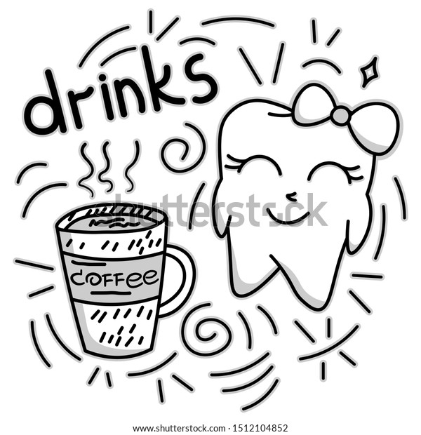 Cute Doodle Happy Tooth Coffee Drink Stock Vector Royalty Free 1512104852