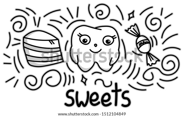 Cute Doodle Happy Tooth Sweets Cartoon Stock Vector Royalty Free 1512104849