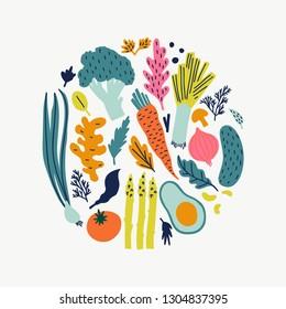 Cute doodle illustration with vegetables isolated on white background on white background. Vector food set for your design.
