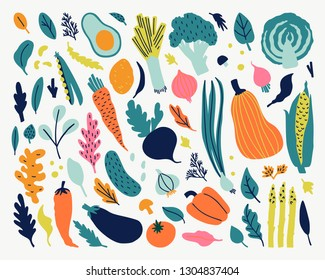 Cute doodle illustration with vegetables isolated on white background. Vector food set for your design.