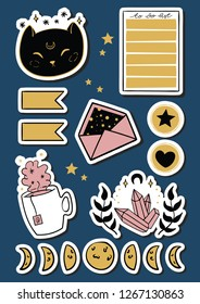 Cute doodle magical moonlight stickers. Vector hand drawn images of moon phase, to do list, flags, envelope. Vector illustration