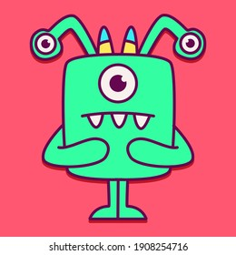 cute doodle monster designs  for coloring, backgrounds, stickers, logos, symbol, icons and more