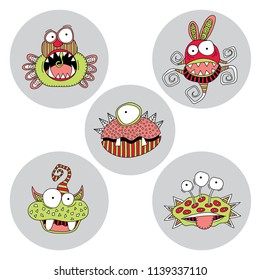 Cute doodle monsters and aliens on a grey circle background