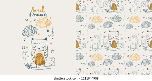 Cute doodle owl & hedgehog. seamless pattern. cartoon hand drawn vector illustration. Can be used for baby t-shirt print, fashion print design, kids wear,  celebration greeting and invitation