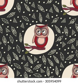 Cute doodle owl vector seamless pattern