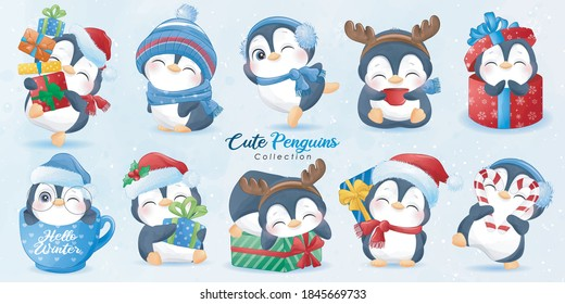 Cute doodle penguins set for christmas day with watercolor illustration