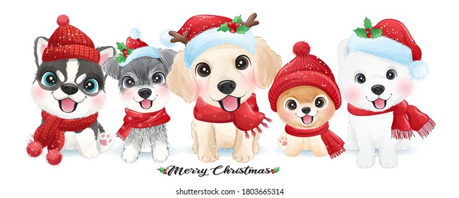 Cute doodle puppy for christmas with watercolor illustration
