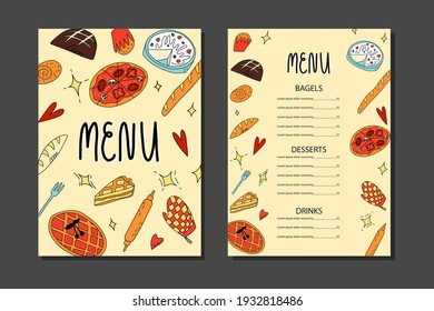 Cute doodle restaurant menu template with various American, Belgian, Italian traditional bakery and pastry. Vector hand-drawn cartoon or sketch style illustration.