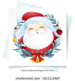 Cute doodle santa claus for christmas with watercolor illustration
