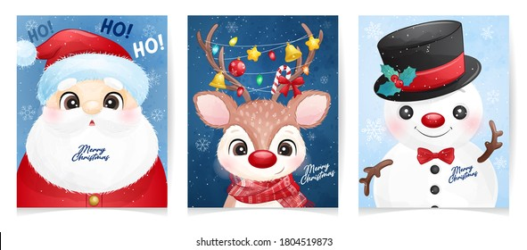 Cute doodle santa claus set for christmas with watercolor illustration