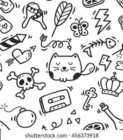 Cute doodle seamless background