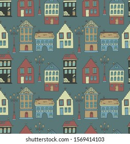 Cute doodle seamless background with houses. Childish textile, wallpaper, texture design.
