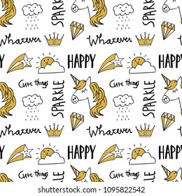 cute doodle seamless background, suitable for fabric printing motif