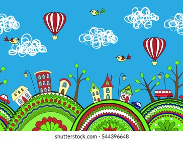 Cute doodle seamless pattern with ornamented hills and cartoon city. Vector background