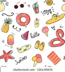 cute doodle summer collection pattern seamless flat vector illustration