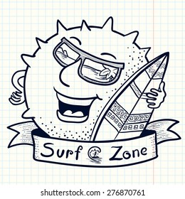 Cute doodle sun chracter with surfboard