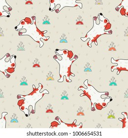 Cute doodle tribal seamless pattern with dogs. Vector background. Wrapping paper.