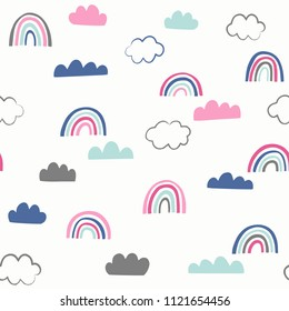 Cute doodle vector pattern with rainbows and clouds. Sky seamless background with hand drawn weather icons.