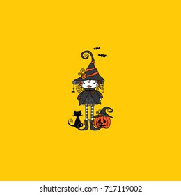 Cute Doodle Witch vector illustration with black cat, pumpkin, bats and swirls on a yellow background.