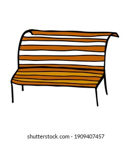 Cute doodle wooden bench isolated on white background.  Park seat.