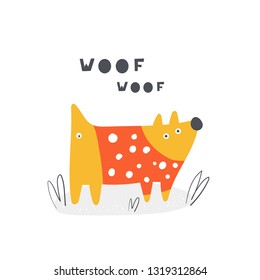 Cute doodle woof dog for kids. Card, postcard, print, poster with funny puppy for children