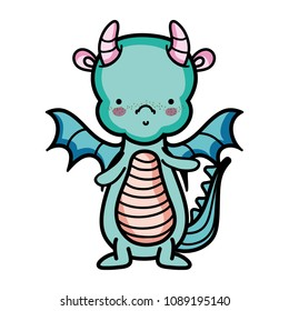 cute dragon animal with horns and wings