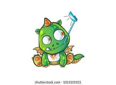 Cute Dragon Character taking a slefie. Vector Illustration. Isolated on white background.