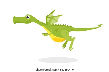 cute dragon flying. this green dragon has all its body parts separated on different layers for easy editing and animation