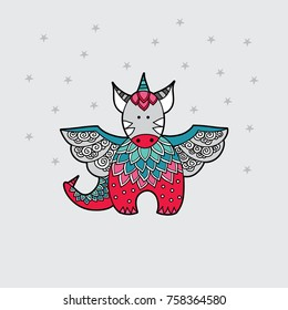 Cute dragon multi-coloured red and green vector illustration on a pale grey background with stars.