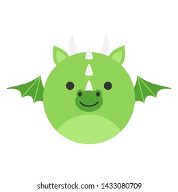 Cute dragon round graphic vector icon. Green fairytale dragon with horns and wings. Mythical creature head, face illustration. Isolated.