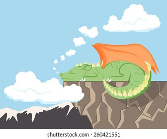 A cute dragon sleeping on a cliff with mountains in the background.