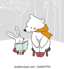 Cute draw vector illustration background winter with a happy rabbit reading story to bear.Doodle cartoon style.