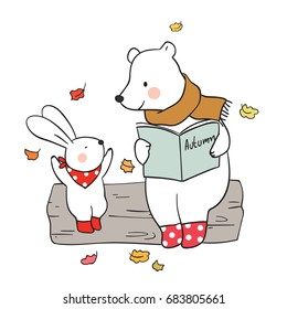 Cute draw vector illustration background autumn with a happy bear reading story to rabbit.Doodle cartoon style.