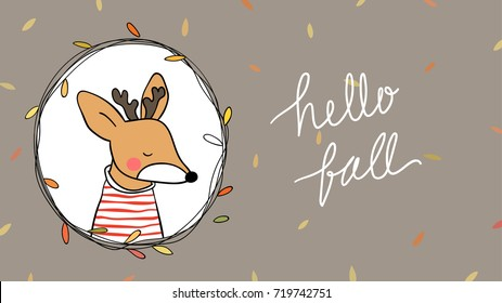 Cute draw vector illustration template banner background of dear in beauty leave wreath for autumn season.Doodle cartoon style.