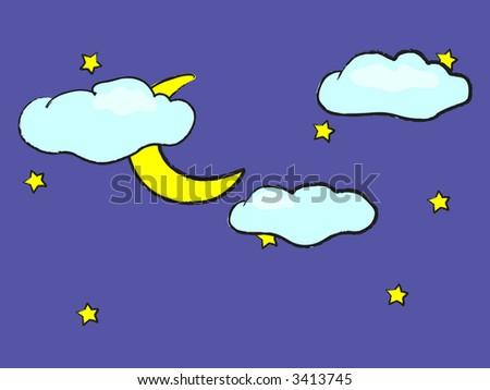 Cute Drawing Night Sky Moon Stars Stock Vector Royalty Free