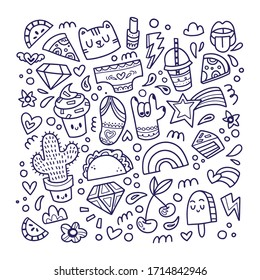 Cute drawings for patches and stickers - giant creative set including cactus, diamond, pizza, rainbow, ice cream, flip flops and lips . Cartoon style illustration set made in vector.