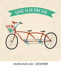Cute drawn tandem bicycle with basket and flowers on striped background. Bicycle postcard. Love theme