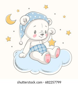 Cute dreaming bear cartoon hand drawn vector illustration. Can be used for t-shirt print, kids wear fashion design, baby shower invitation card.