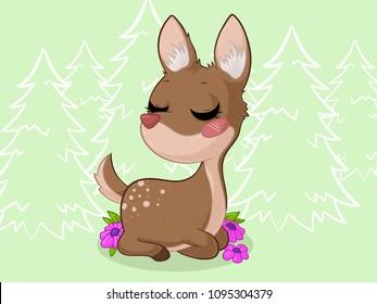 Cute dreaming cartoon deer with flowers