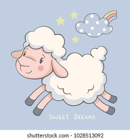 Cute dreaming lamb cartoon hand drawn vector illustration. Can be used for t-shirt print, kids wear fashion design, baby shower invitation card.