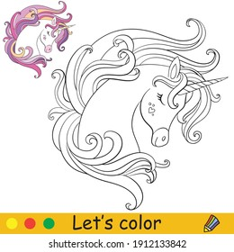 Cute dreaming portrait of unicorn. Coloring book page with colorful template. Vector cartoon illustration isolated on white background. For coloring book, education, print, design,decor and game