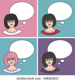 Cute dreamy girl looking at a thought bubble over her head. Pastel and dark colors. Set of four. Vector clip-art.