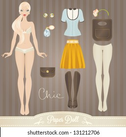 Cute dress up paper doll. Body template, outfit and accessories