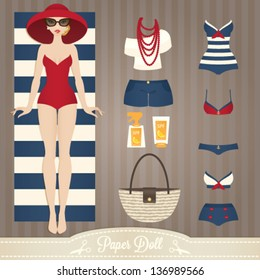 Cute dress up paper doll. Body template, outfit and accessories. Summer collection.