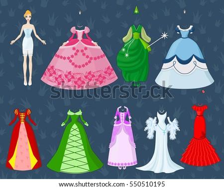 Cute Dress Paper Doll Princess Going Stock-Vektorgrafik (Lizenzfrei ...