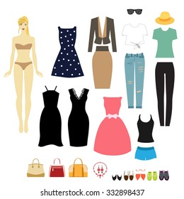 Cute dress paper doll. Set of fashion clothing in case. Dress, business suit, sports uniforms, evening dress, jeans, shirts, bags and shoes.