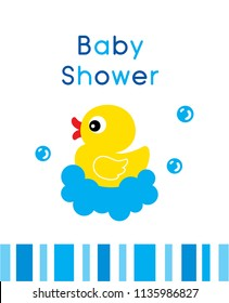 cute duck baby shower greeting card vector. cute baby duck cartoon baby shower invitation card illustration. baby duck graphic collection.
