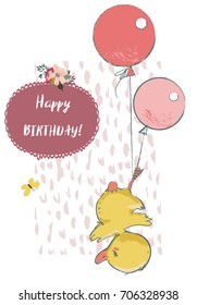cute duck with balloons
