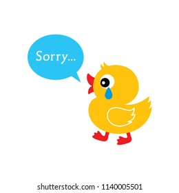 cute duck cartoon sorry card vector. apologize greeting card with cute cartoon duck graphic.  duck apology card.
